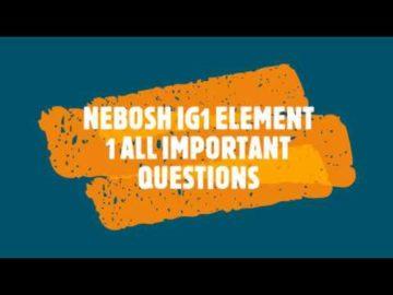 Nebosh IG1 Element 1 Important questions